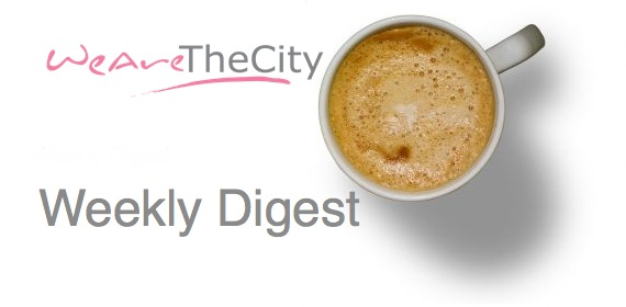 News, Views and  WeAreTheCity Logo with a coffee cup