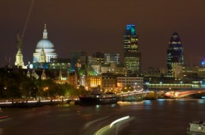 Night time from the River Thames