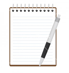 notepad with pen vector illustration