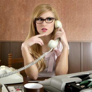 retro businesswoman on telephone