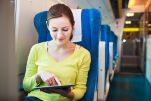 Tablet-woman-on-train