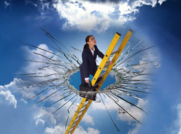 Woman smashing the glass ceiling