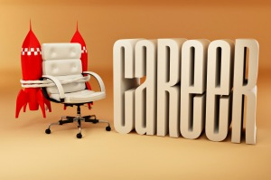 Career opportunities. Office armchair with rockets