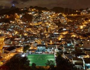 football pitch at night