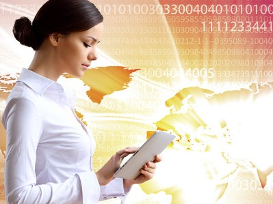 Woman in business wear with technology background
