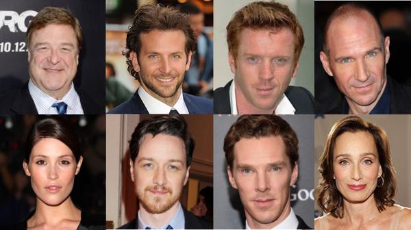 Montage of John Goodman, James McAvoy, Benedict Cumberbatch, Gemma Arterton, Bradley Cooper, Ralph Feinnes, Kristen Scott Thomas in the theatre