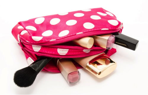 pink and white make up bag
