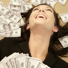 woman surrounded by money
