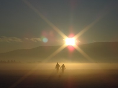 Walking into sunlight
