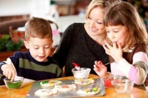 mum baking with children