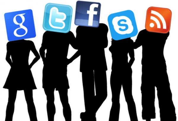 millennials silhouettes with social media icons