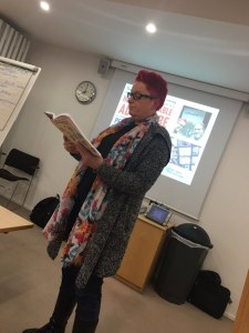 Sue Black reading an extract from her Saving Bletchley Park