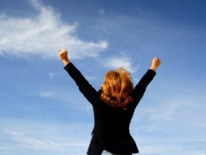 Businesswoman shouting her victory to the world, female bosses
