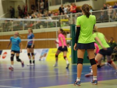 girls playing volleyball, sport