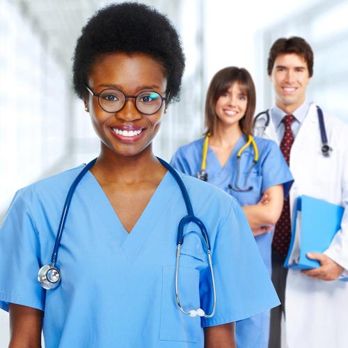 Female nurses and doctor, nursing