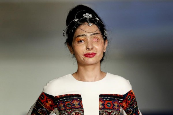 Indian model and acid attack survivor Reshma Quereshi presents a creation from Indian designer Archana Kochhar's Spring/Summer 2017 collection during New York Fashion Week in the Manhattan borough of New York
