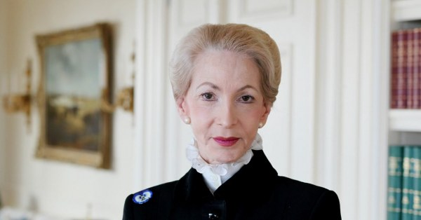 Lady Barbara Judge looking serious to the camera