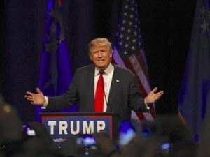 Donald Trump on a podium