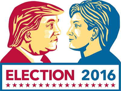 An illustration in red and blue of Donald Trump and Hilary Clinton for the Election 2016