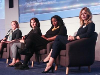 Q&A panel featuring Agata Cooper, Anne-Marie Imafidon, Lubaina Manji & Fleur Bamber