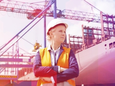 female engineer in ship yard, engineering featured