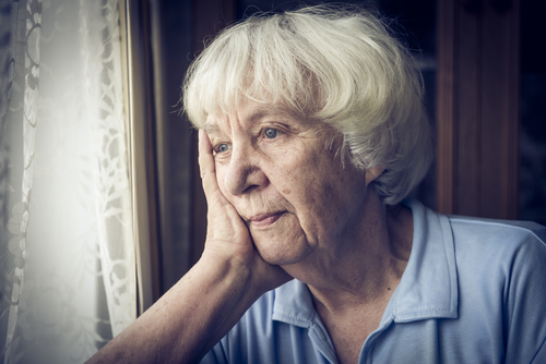 old woman sad about pensions