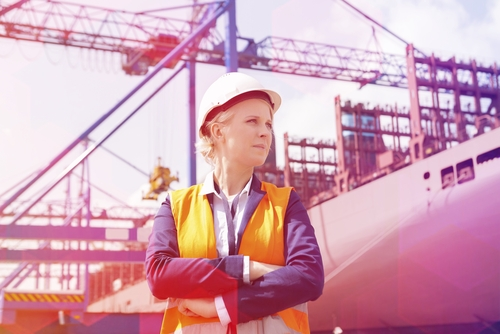 female engineer in ship yard, engineering